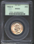 Washington Quarters: , 1932-D 25C MS63 PCGS. Pale steel surfaces with areas of ...