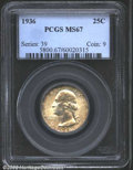 Washington Quarters: , 1936 25C MS67 PCGS. The borders have hints of golden-...