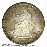 1873 T$1 MS64 NGC. This is one of the most significant Trade Dollars in this sale. The first-year 1873 is a low mintage...