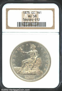 1875-CC T$1 AU58 NGC. Type I Obverse / Type II Reverse. Tall CC, the only known mintmark style. Breen-5797. By a sizeabl...
