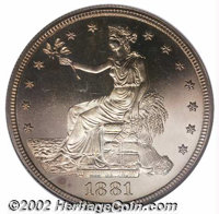 1881 T$1 PR65 Cameo NGC. Curiously for a proof-only issue with just 960 pieces produced, the 1881 is a mostly poorly pro...