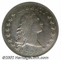 1795 $1 Flowing Hair, Two Leaves XF45 ICG. B-2, BB-20, R.3. The obverse of this die shows Liberty's hair with six promin...