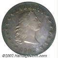 "1795 $1 Flowing Hair, Three Leaves AU55 PCGS. B-5, BB-27, R.1. This variety is immediately identifiable by the ""bar..."