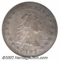 1795 $1 Flowing Hair, Three Leaves AU50 NGC. B-6, BB-25, R.3. Die State II. The obverse die used to strike this scarce v...