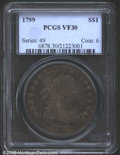"Early Dollars: , 1799 $1 VF30 PCGS. B-13, BB-151, R.5. One of the ""..."