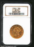 Liberty Eagles: , 1854 $10 AU50 NGC. Iridescent orange-gold and lilac ...