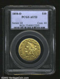 1858-O $10 AU53 PCGS. An uncommonly high grade representative of this, the most common No Motto Eagle from the New Orlea...