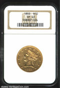 Liberty Eagles: , 1859 $10 XF40 NGC. The stars are flat, while the eagle ...