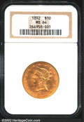 Liberty Eagles: , 1892 $10 MS64 NGC. The 18 in the date is sharply ...