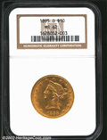 Liberty Eagles: , 1895-O $10 MS62 NGC. A sharply struck representative that ...
