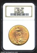 Saint-Gaudens Double Eagles: , 1909 $20 MS60 NGC. Lustrous and sharp with a good ...