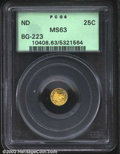 California Fractional Gold: , Undated 25C Liberty Round 25 Cents, BG-223, R.4, MS63 PCGS....