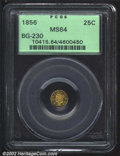 California Fractional Gold: , 1856 25C Liberty Round 25 Cents, BG-230, R.5, MS64 PCGS. ...