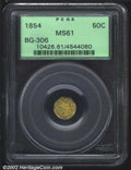 California Fractional Gold: , 1854 50C Liberty Octagonal 50 Cents, BG-306, R.5, MS61 PCGS....