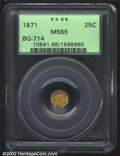 California Fractional Gold: , 1871 25C Liberty Octagonal 25 Cents, BG-714, R.5, MS65 PCGS....