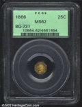 California Fractional Gold: , 1866 25C Liberty Octagonal 25 Cents, BG-737, R.7, MS62 PCGS....
