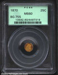 California Fractional Gold: , 1870 25C Liberty Octagonal 25 Cents, BG-755, R.6, MS60 PCGS....