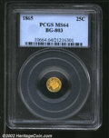 California Fractional Gold: , 1865 25C Liberty Round 25 Cents, BG-802, R.7, MS64 PCGS. ...