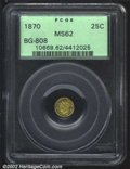 California Fractional Gold: , 1870 25C Liberty Round 25 Cents, BG-808, R.4, MS62 PCGS. ...