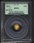 California Fractional Gold: , 1871 25C Liberty Round 25 Cents, BG-813, R.5, MS63 PCGS. ...