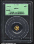 California Fractional Gold: , 1864 25C Liberty Round 25 Cents, BG-821, R.6, MS62 PCGS. ...