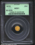 California Fractional Gold: , 1870 25C Liberty Round 25 Cents, BG-835, R.4, MS61 PCGS. ...