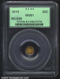 California Fractional Gold: , 1874 25C Liberty Round 25 Cents, BG-845, R.7, MS61 PCGS. ...