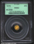 California Fractional Gold: , 1876 25C Indian Round 25 Cents, BG-853, R.6, MS62 PCGS. ...