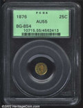 California Fractional Gold: , 1876 25C Liberty Round 25 Cents, BG-854, R.5, AU55 PCGS. ...