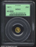 California Fractional Gold: , 1871 25C Liberty Round 25 Cents, BG-859, R.6, MS62 PCGS. ...