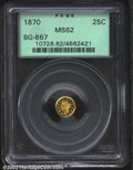 California Fractional Gold: , 1870 25C Liberty Round 25 Cents, BG-867, R.5, MS62 PCGS. ...