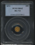 California Fractional Gold: , 1872/1 25C Indian Round 25 Cents, BG-868, R.5, MS62 PCGS. ...