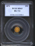 California Fractional Gold: , 1872/1 25C Indian Round 25 Cents, BG-868, R.5, MS63 PCGS. ...