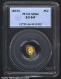 California Fractional Gold: , 1872/1 25C Indian Round 25 Cents, BG-869, R.5, MS64 PCGS. ...