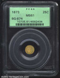 California Fractional Gold: , 1873 25C Indian Round 25 Cents, BG-874, R.7, MS61 PCGS. A ...