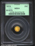 California Fractional Gold: , 1874 25C Indian Round 25 Cents, BG-875, R.6, MS64 PCGS. A ...