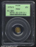 California Fractional Gold: , 1878/6 25C Indian Round 25 Cents, BG-884, R.7, MS62 PCGS. ...