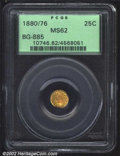 California Fractional Gold: , 1880/76 25C Indian Round 25 Cents, BG-885, R.4, MS62 PCGS....