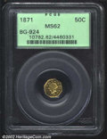 California Fractional Gold: , 1871 50C Liberty Octagonal 50 Cents, BG-924, R.4, MS62 PCGS....