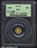California Fractional Gold: , 1866 50C Liberty Round 50 Cents, BG-1006, R.7, MS61 PCGS. ...