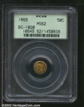 California Fractional Gold: , 1869 50C Liberty Round 50 Cents, BG-1020, R.5, MS62 PCGS. ...