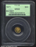 California Fractional Gold: , 1871 50C Liberty Round 50 Cents, BG-1027, R.4, MS62 PCGS. ...