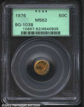 California Fractional Gold: , 1876 50C Indian Round 50 Cents, BG-1038, R.6, MS62 PCGS. ...