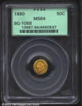 California Fractional Gold: , 1880 50C Indian Round 50 Cents, BG-1068, R.6, MS64 PCGS. ...
