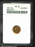 Commemorative Gold: , 1917 $1 McKinley MS62 ANACS. Sharply struck and mildly ...