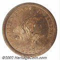 1858 P1C Flying Eagle Cent, Judd-203, Pollock-247, R.5, PR64 PCGS. The obverse has a hook-necked eagle flying left with...