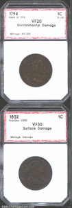 Additional Certified Coins: , 1794 1C Head of 1794 Cent VF20 Environmental Damage PCI (...