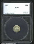Additional Certified Coins, 1852 3CS Three Cent Silver MS64 SEGS. Lustrous and mostly ...