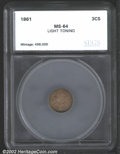 Additional Certified Coins: , 1861 3CS Three Cent Silver MS64 SEGS (MS63 Questionable ...