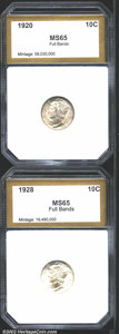 Additional Certified Coins: , 1920 10C Dime MS65 Full Bands PCI, (MS64 Full Bands) deep ...